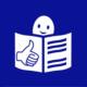 Logo Leichte Sprache (Zeichnung: weiße Person vor blauem Grund mit Daumen hoch hinter einer Zeitung