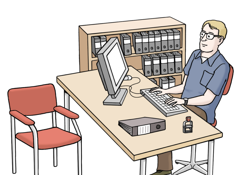 Zeichnung Amt: Sachbearbeiter im Büro