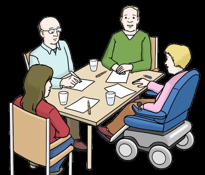 Zeichnung: Arbeitsgruppe mit Person im Rollstuhl