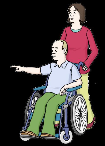 Zeichnung: Assistenz Rollstuhl