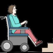 Zeichnung: Rollstuhlfahrende Person vor Treppe
