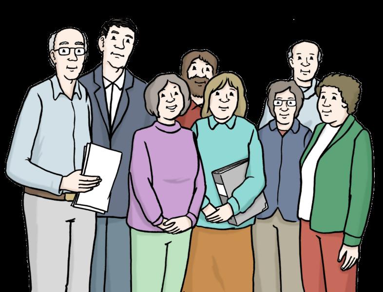 Zeichnung Seniorenbeirat (Gruppe mit Aktenordnern unter dem Arm)