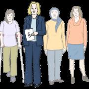 Symbol für Frauenbeauftragte (Frau im Hosenanzug mit §-Zeichen vor Frauen-Gruppe)
