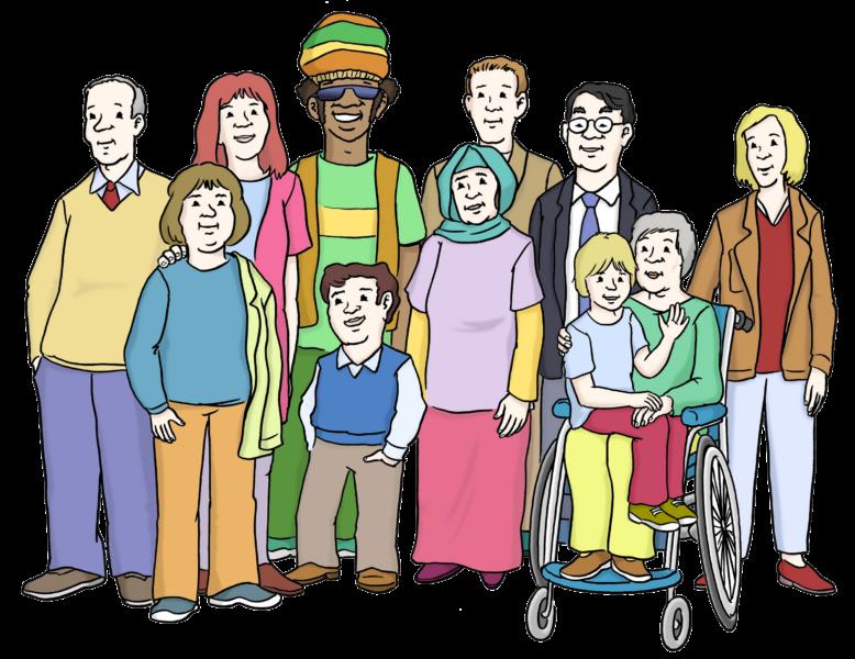 Zeichnung Inklusion: Gruppe verschiedener Menschen zusammen (alt, jung, coloured, Muslima, Rollifahrerin)r