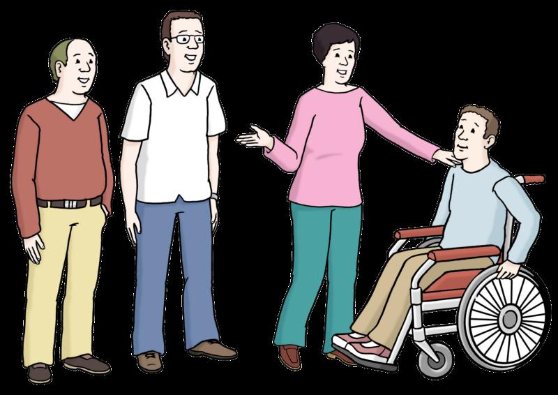 Zeichnung Integration: Rollifahrer wird aufgefordert, bei Gruppe mit dabei zu sein