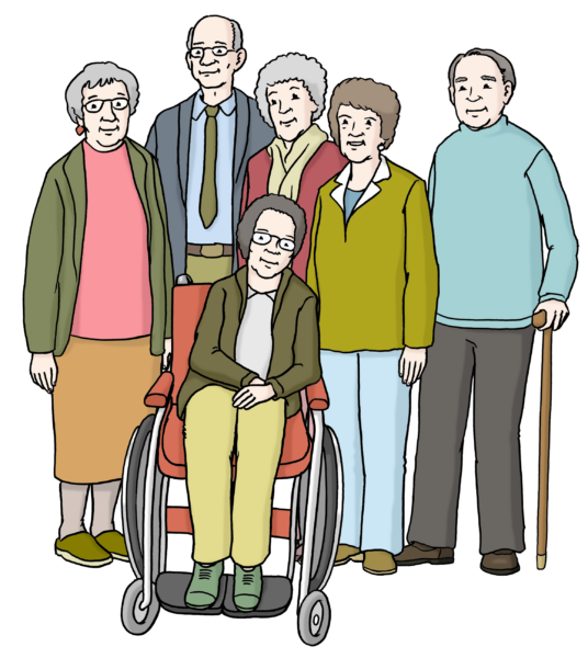 Zeichnung: Gruppe älterer Menschen