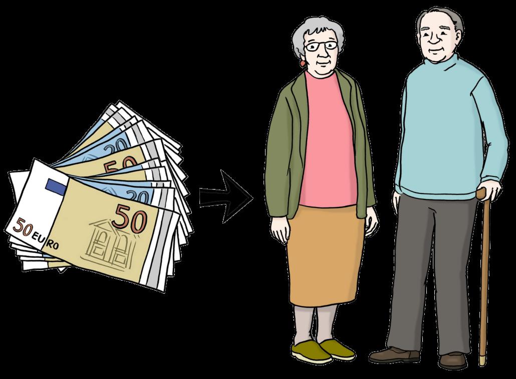 2 ältere Personen bekommen Geldscheine