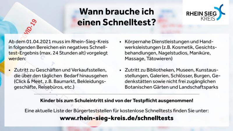 """Ab 01.04.2021 gilt im Rhein-Sieg-Kreis im Kampf gegen die Coronapandemie die sogenannte """"Notbremse mit Test-Option"""". Ob und wo nun ein Coronaschnelltest notwendig ist, zeigt der Rhein-Sieg-Kreis in dieser Infografik. (Quelle: Rhein-Sieg-Kreis)"""