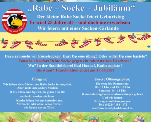 "Plakat zur Aktion ""Rabe-Socke-Jubiläum"""