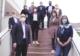 Personen des Kreistags und Bad Honnefer Verwaltung auf der Treppe, dem Zugang zum Bad Honnefer Ratssaal