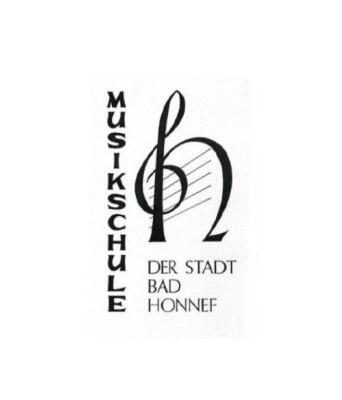 Log der Musikschule mit Notenschlüssel und Schriftzug Musikschule der Stadt Bad Honnef