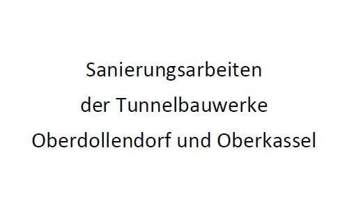 Zeigt den Schriftzug Sanierungsarbeiten der Tunnelbauwerke Oberdollendorf und Oberkassel