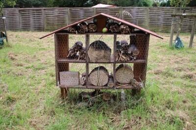 Insektenhotel auf Wiese- Fächer und Material, damit die Insekten sich verkriechen können.