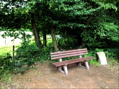 Foto zeigt Bank mit Wald und Hinweisstein.